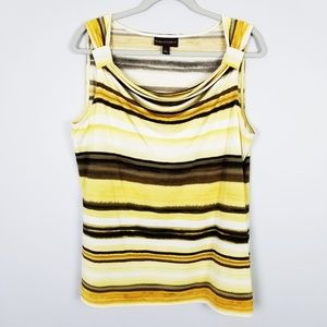 Dana Buchman Yellow Striped Sleeveless Top Size L